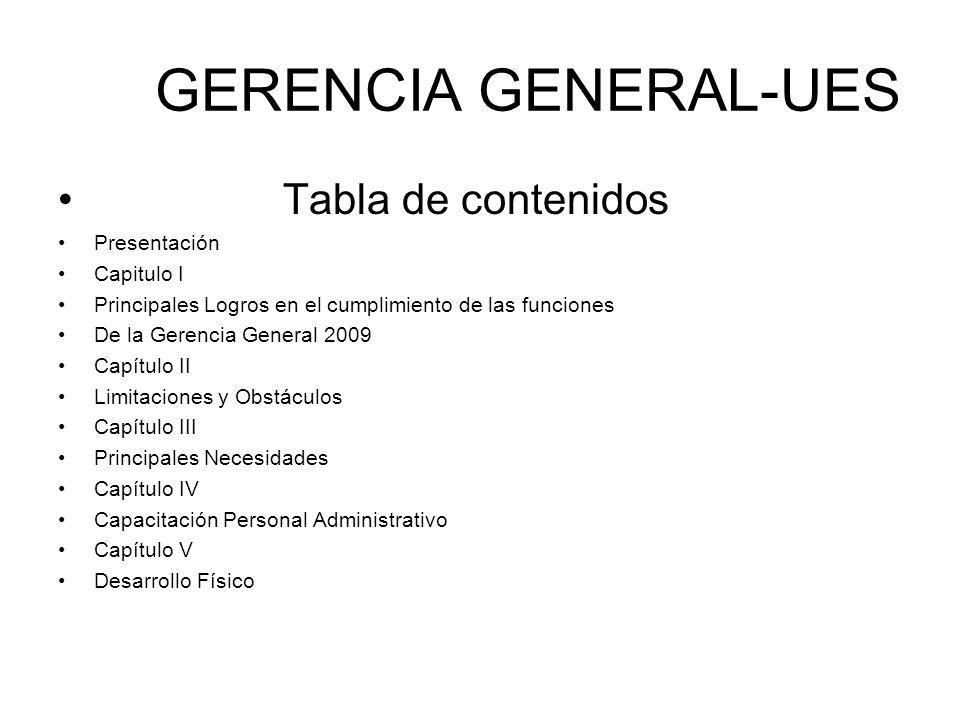 GERENCIA GENERAL-UES Tabla de contenidos Presentación Capitulo I