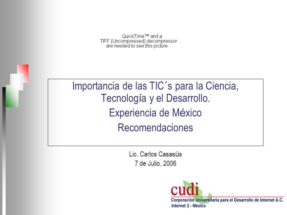 Importancia de las TIC´s para la Ciencia, Tecnología y el Desarrollo.