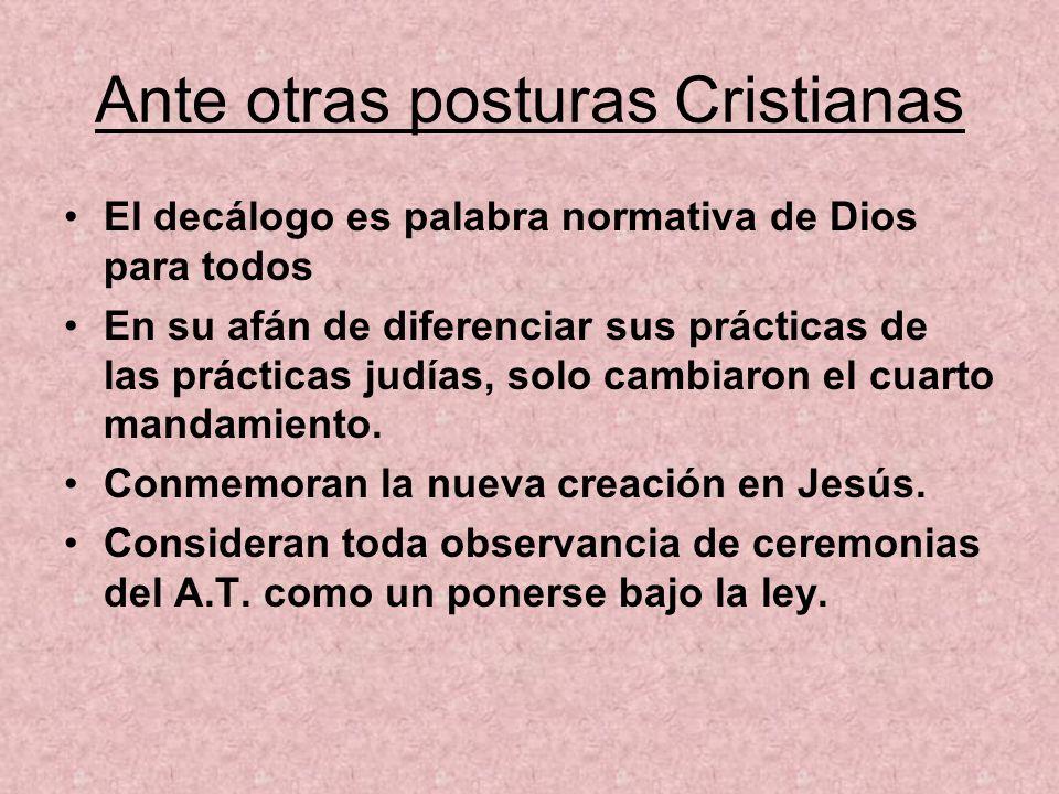 Ante otras posturas Cristianas