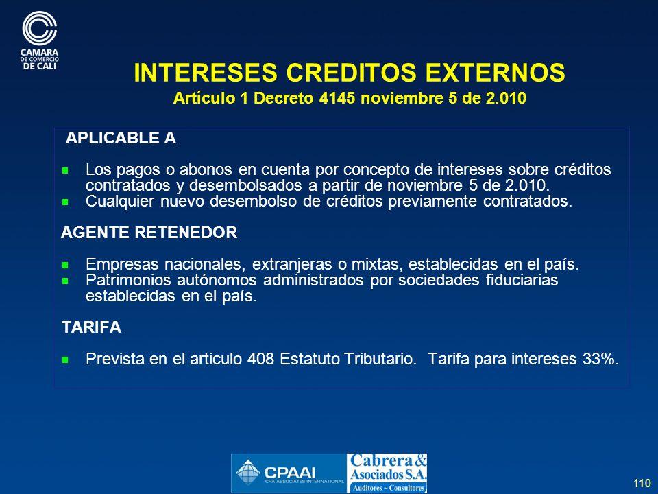 INTERESES CREDITOS EXTERNOS Artículo 1 Decreto 4145 noviembre 5 de 2