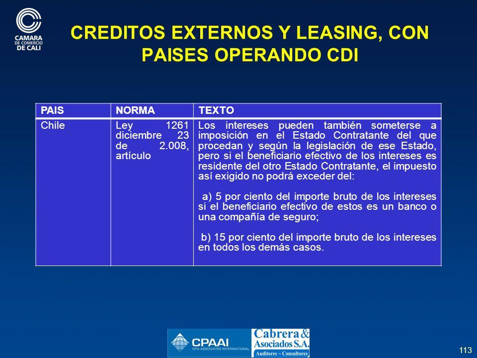 CREDITOS EXTERNOS Y LEASING, CON PAISES OPERANDO CDI