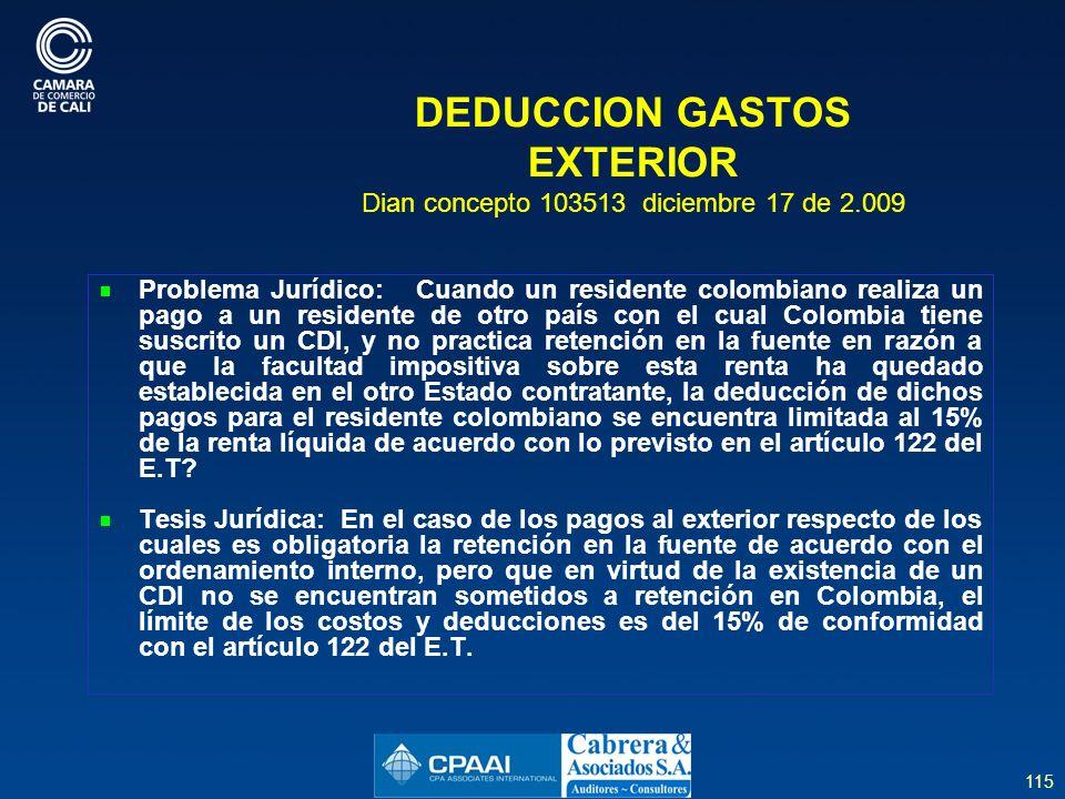 DEDUCCION GASTOS EXTERIOR Dian concepto 103513 diciembre 17 de 2.009