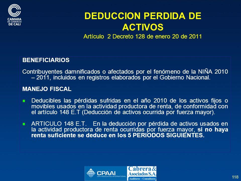 DEDUCCION PERDIDA DE ACTIVOS Artículo 2 Decreto 128 de enero 20 de 2011