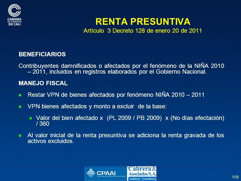 RENTA PRESUNTIVA Artículo 3 Decreto 128 de enero 20 de 2011