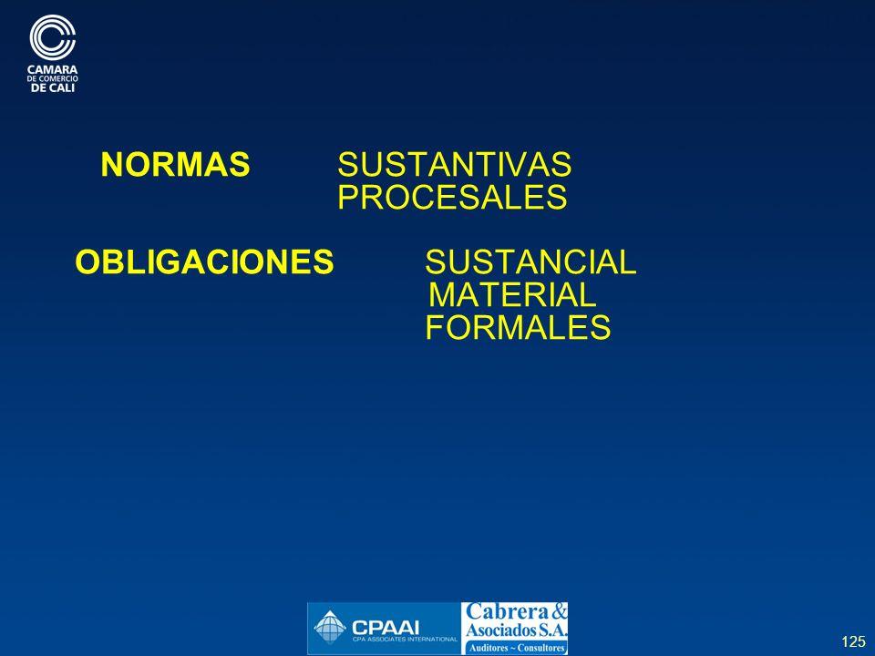 OBLIGACIONES SUSTANCIAL MATERIAL FORMALES