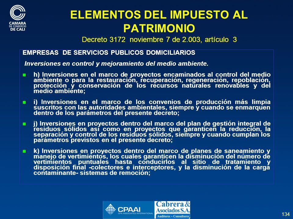 ELEMENTOS DEL IMPUESTO AL PATRIMONIO Decreto 3172 noviembre 7 de 2