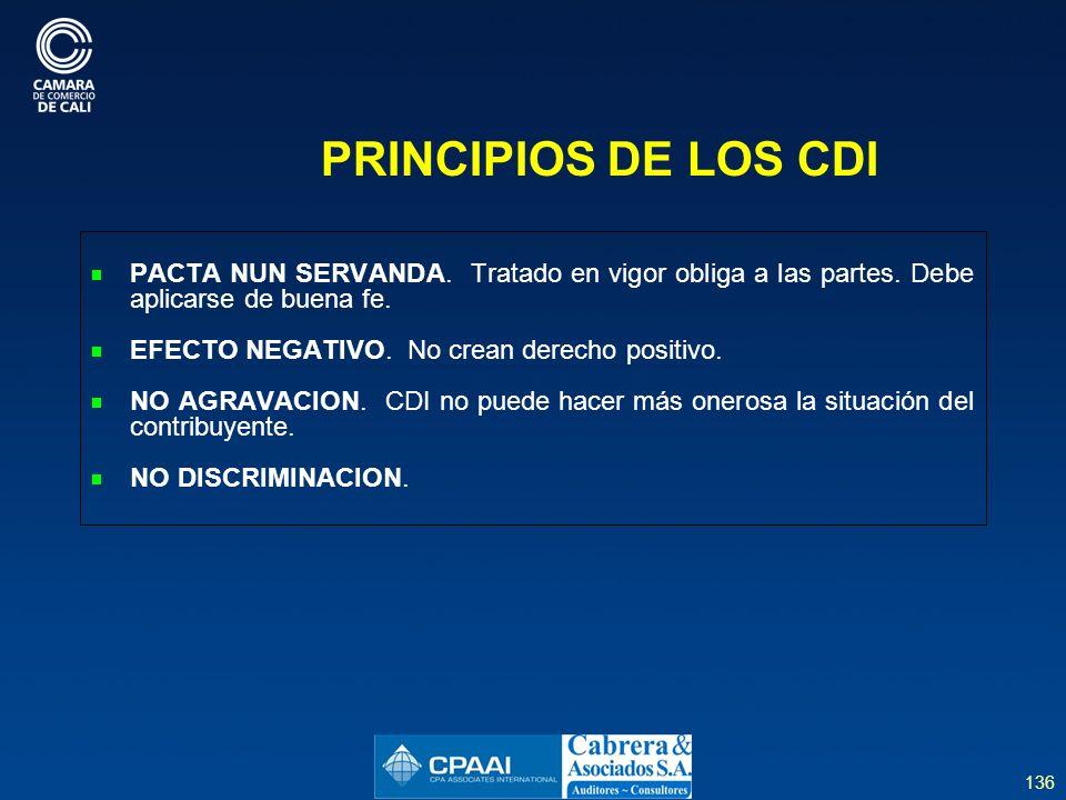 PRINCIPIOS DE LOS CDI PACTA NUN SERVANDA. Tratado en vigor obliga a las partes. Debe aplicarse de buena fe.