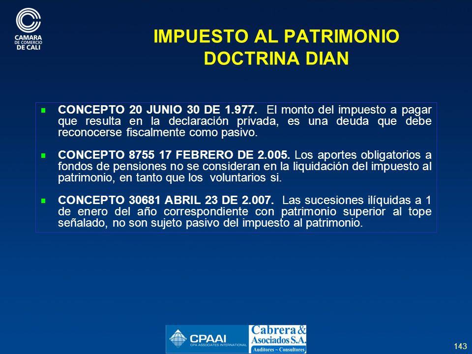 IMPUESTO AL PATRIMONIO DOCTRINA DIAN