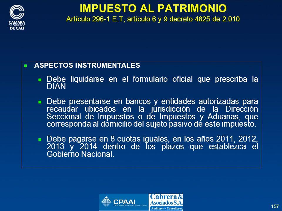 IMPUESTO AL PATRIMONIO Artículo 296-1 E