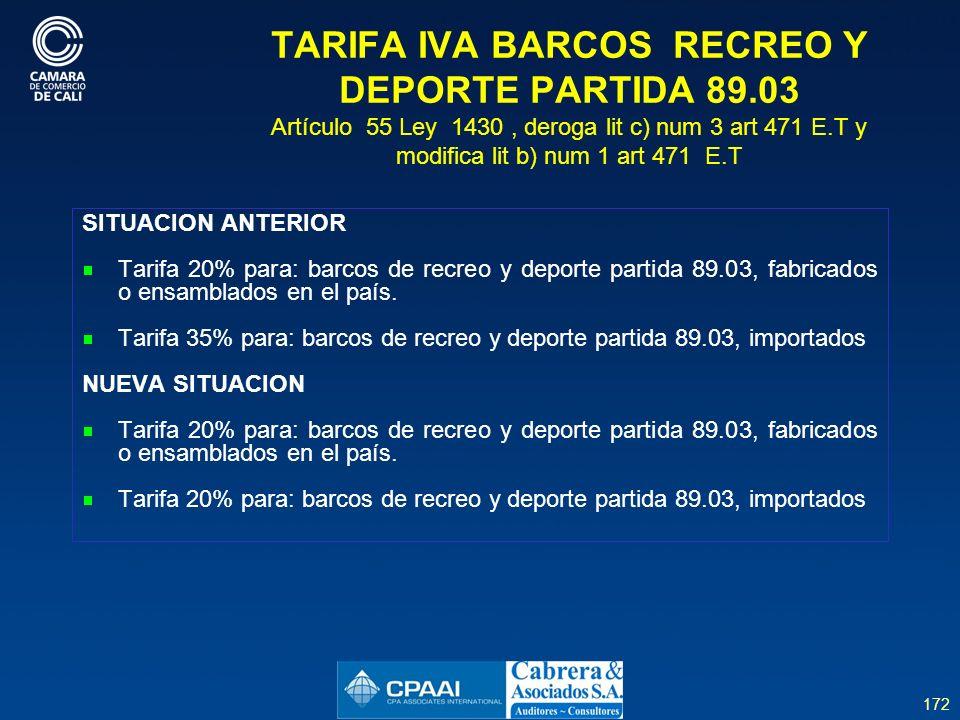 TARIFA IVA BARCOS RECREO Y DEPORTE PARTIDA 89