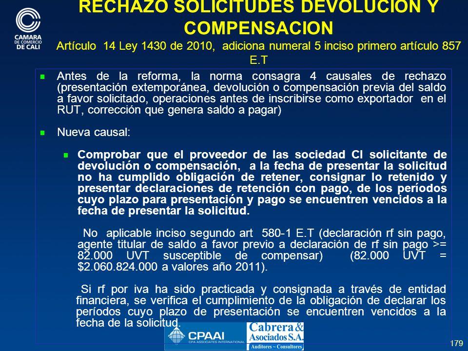 RECHAZO SOLICITUDES DEVOLUCION Y COMPENSACION Artículo 14 Ley 1430 de 2010, adiciona numeral 5 inciso primero artículo 857 E.T