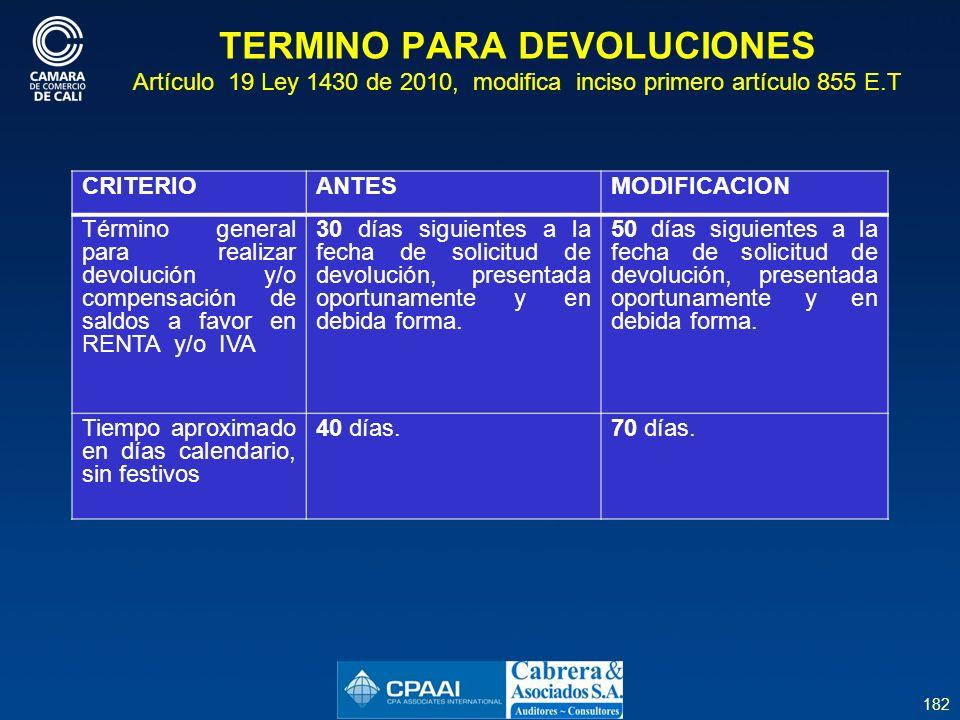 TERMINO PARA DEVOLUCIONES Artículo 19 Ley 1430 de 2010, modifica inciso primero artículo 855 E.T