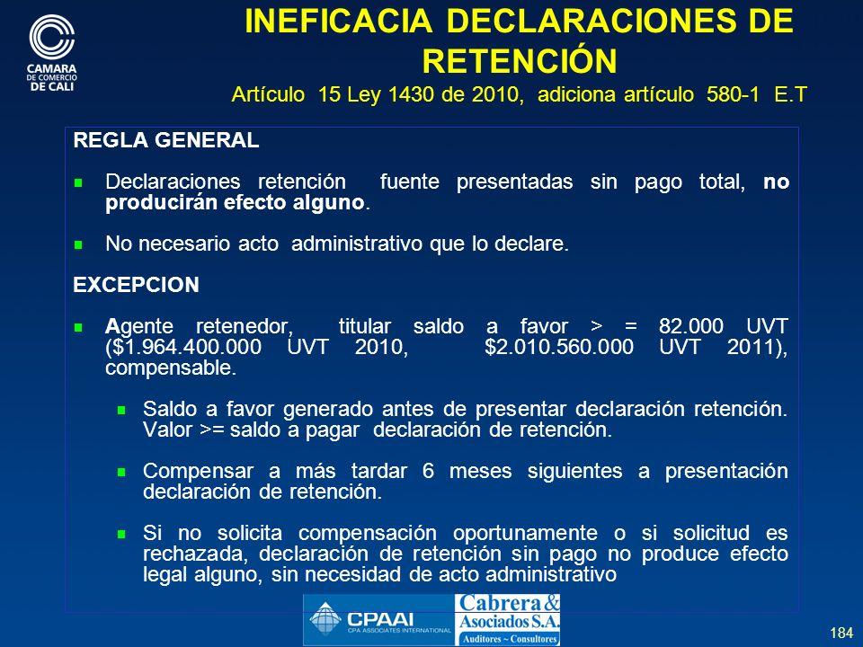 INEFICACIA DECLARACIONES DE RETENCIÓN Artículo 15 Ley 1430 de 2010, adiciona artículo 580-1 E.T