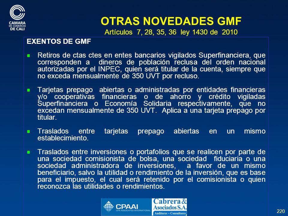 OTRAS NOVEDADES GMF Artículos 7, 28, 35, 36 ley 1430 de 2010