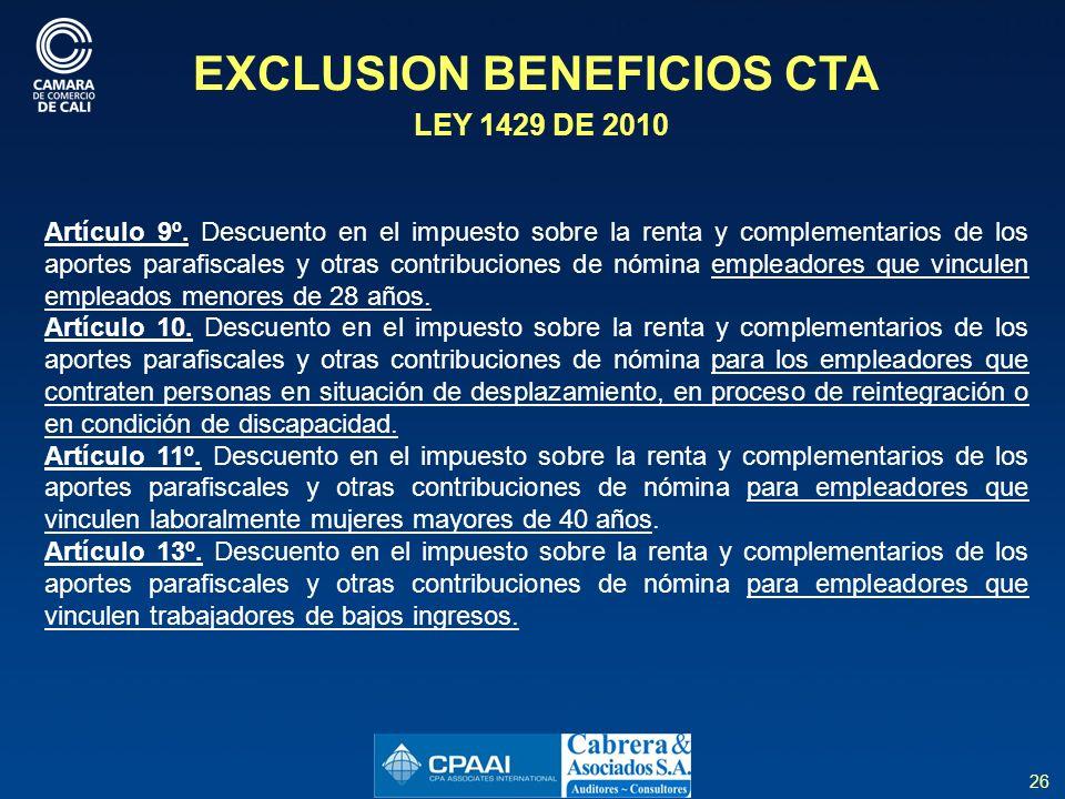 EXCLUSION BENEFICIOS CTA