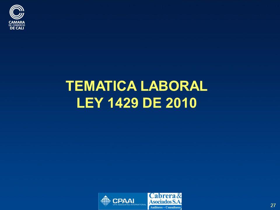 TEMATICA LABORAL LEY 1429 DE 2010