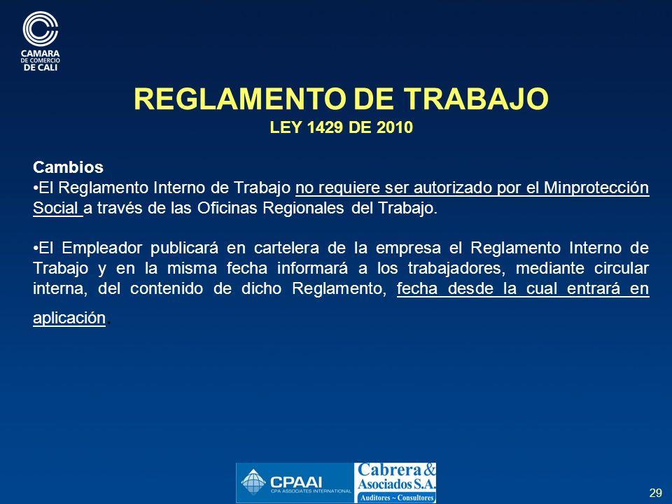 REGLAMENTO DE TRABAJO LEY 1429 DE 2010 Cambios