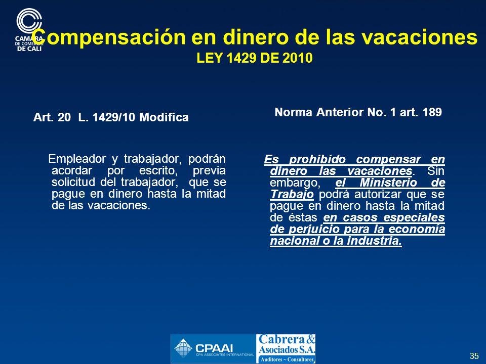 Compensación en dinero de las vacaciones LEY 1429 DE 2010
