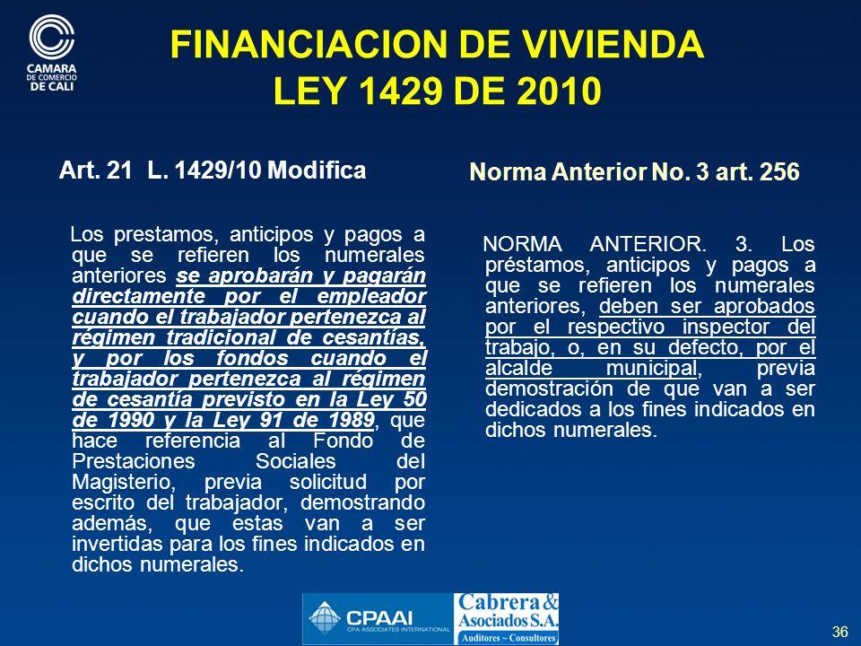 FINANCIACION DE VIVIENDA LEY 1429 DE 2010