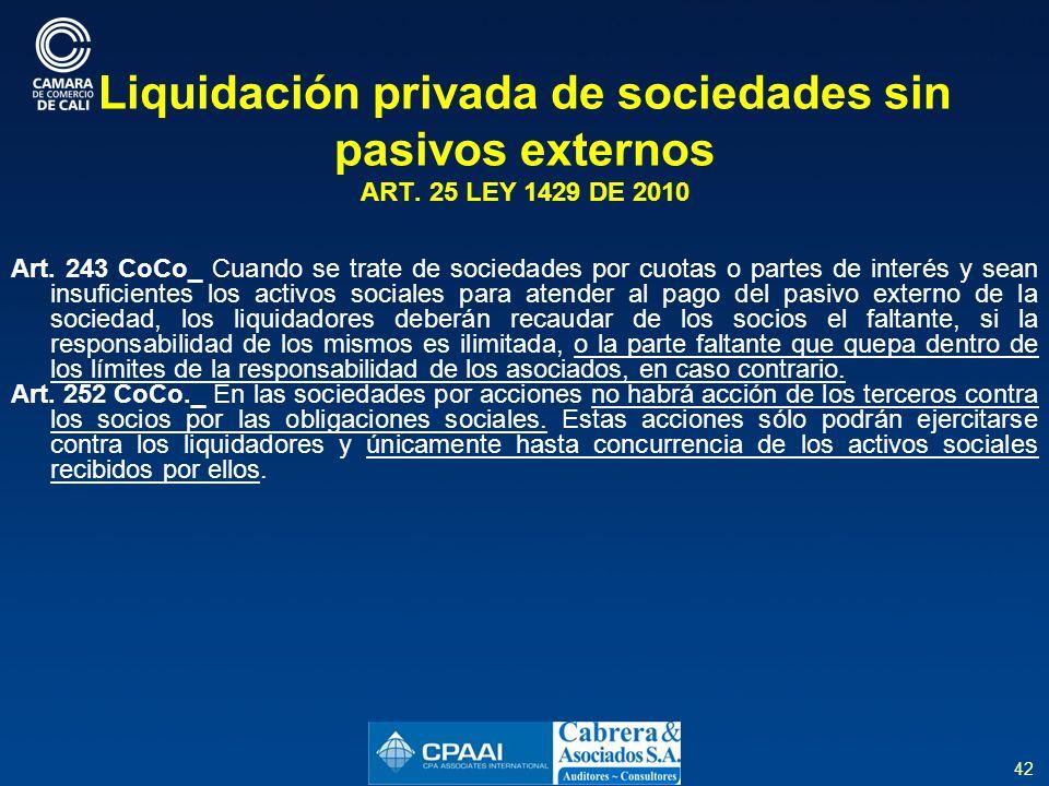 Liquidación privada de sociedades sin pasivos externos ART