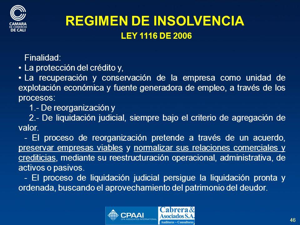 REGIMEN DE INSOLVENCIA