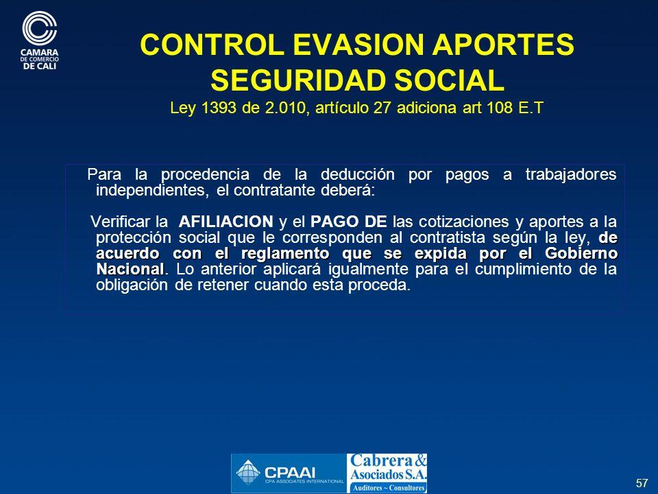 CONTROL EVASION APORTES SEGURIDAD SOCIAL Ley 1393 de 2