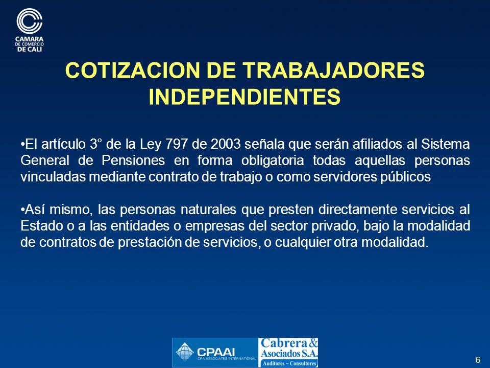 COTIZACION DE TRABAJADORES INDEPENDIENTES