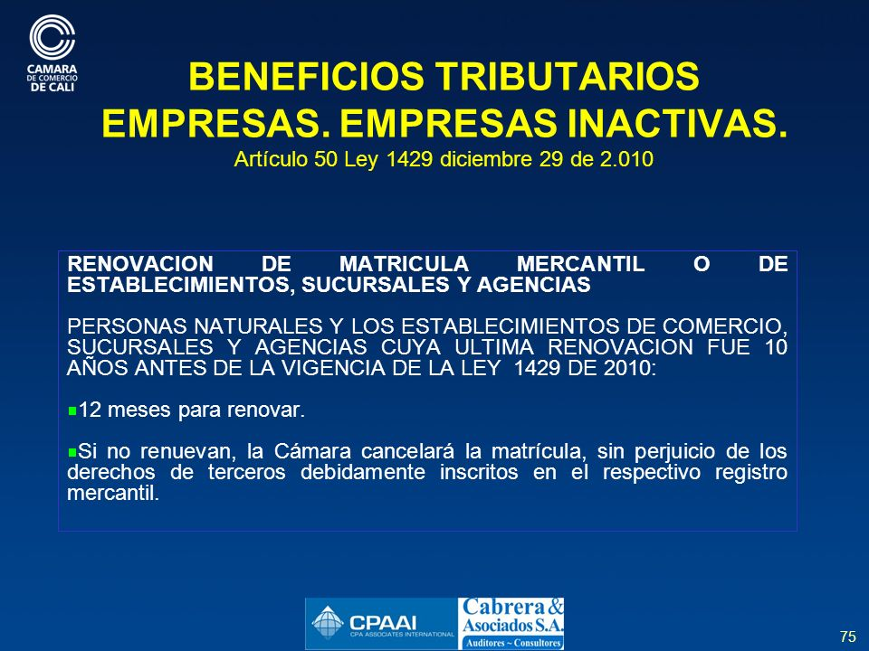 BENEFICIOS TRIBUTARIOS EMPRESAS. EMPRESAS INACTIVAS