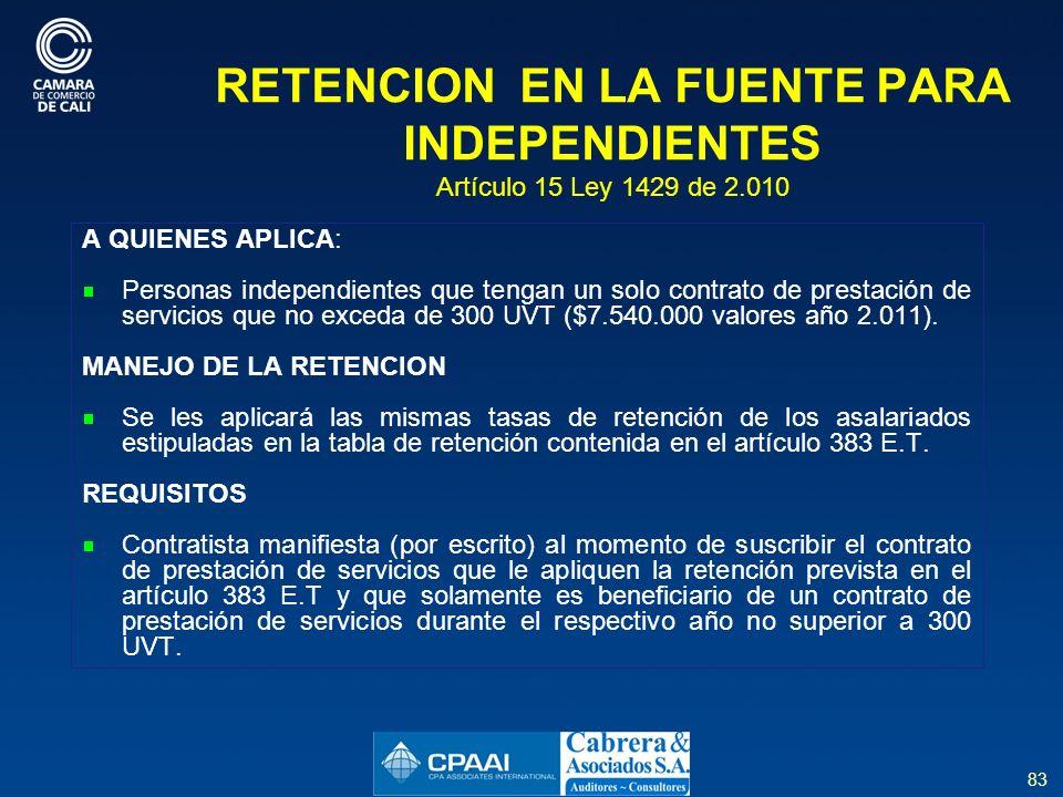 RETENCION EN LA FUENTE PARA INDEPENDIENTES Artículo 15 Ley 1429 de 2