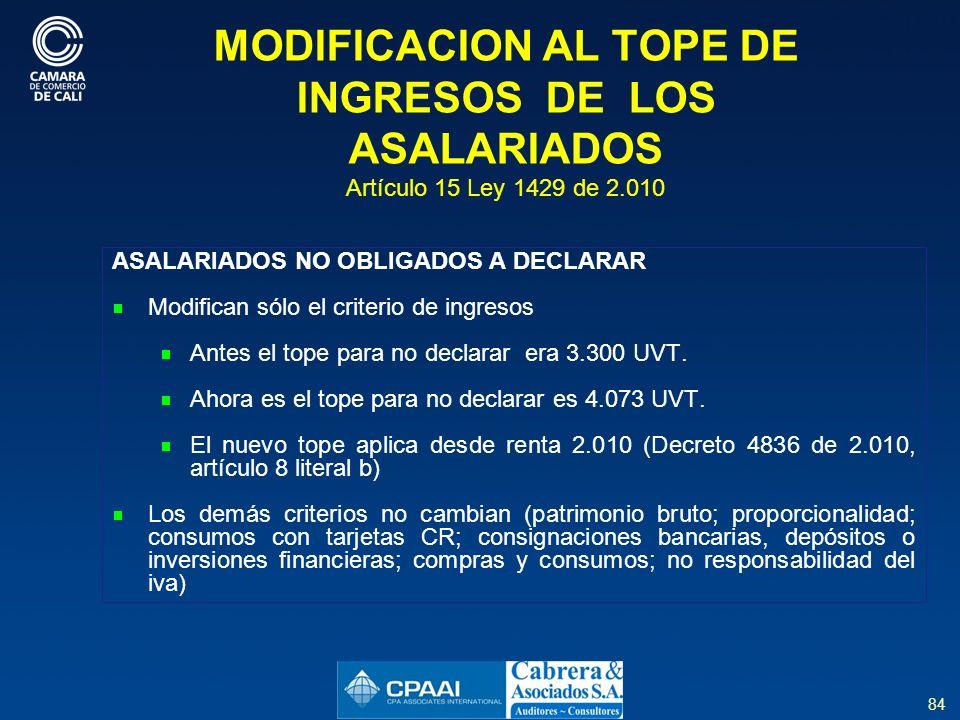 MODIFICACION AL TOPE DE INGRESOS DE LOS ASALARIADOS Artículo 15 Ley 1429 de 2.010