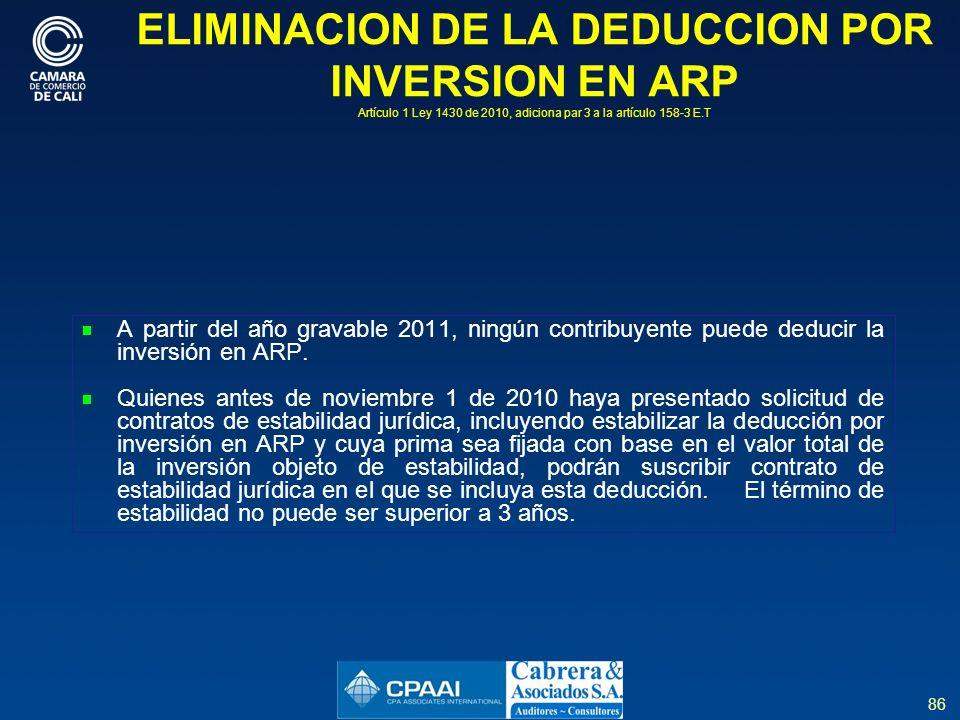 ELIMINACION DE LA DEDUCCION POR INVERSION EN ARP Artículo 1 Ley 1430 de 2010, adiciona par 3 a la artículo 158-3 E.T