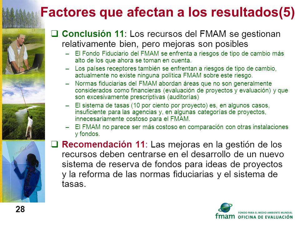 Factores que afectan a los resultados(5)