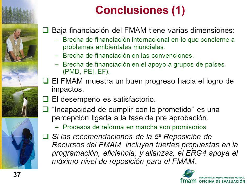 Conclusiones (1) Baja financiación del FMAM tiene varias dimensiones: