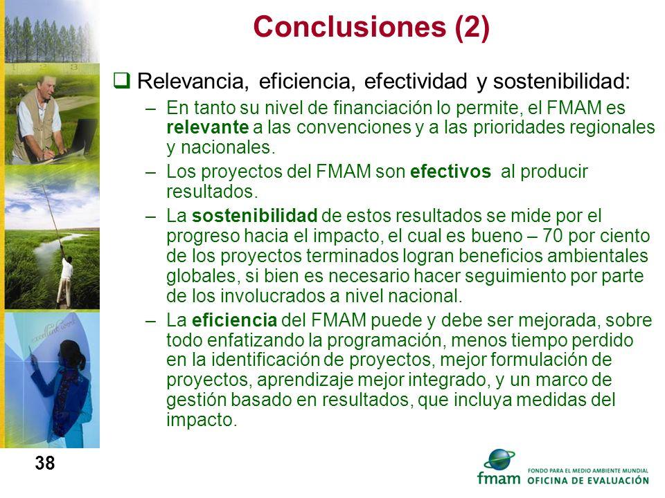 Conclusiones (2) Relevancia, eficiencia, efectividad y sostenibilidad: