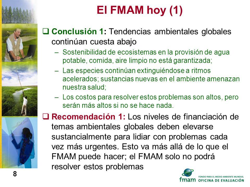 El FMAM hoy (1)Conclusión 1: Tendencias ambientales globales continúan cuesta abajo.