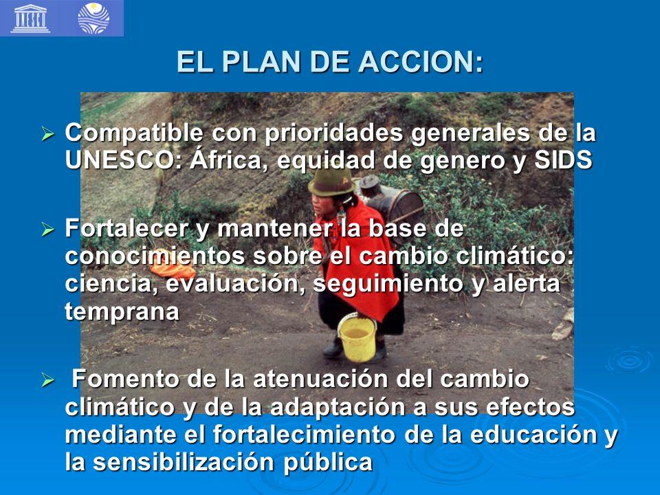 EL PLAN DE ACCION: Compatible con prioridades generales de la UNESCO: África, equidad de genero y SIDS.