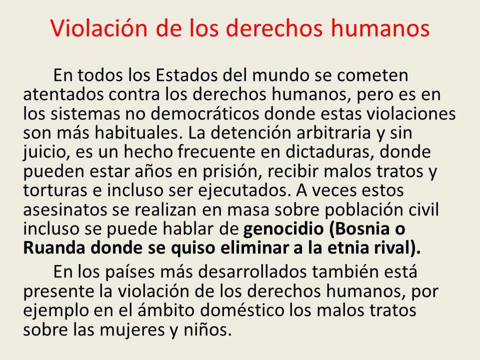 Violación de los derechos humanos
