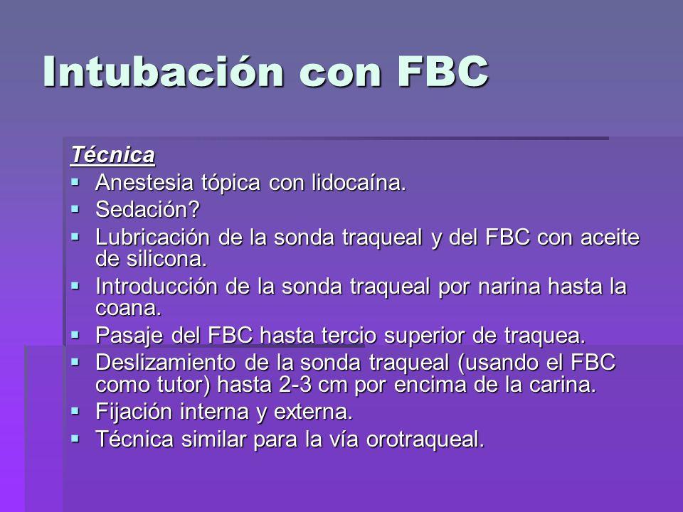 Intubación con FBC Técnica Anestesia tópica con lidocaína. Sedación