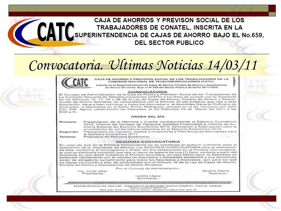 Convocatoria. Ultimas Noticias 14/03/11