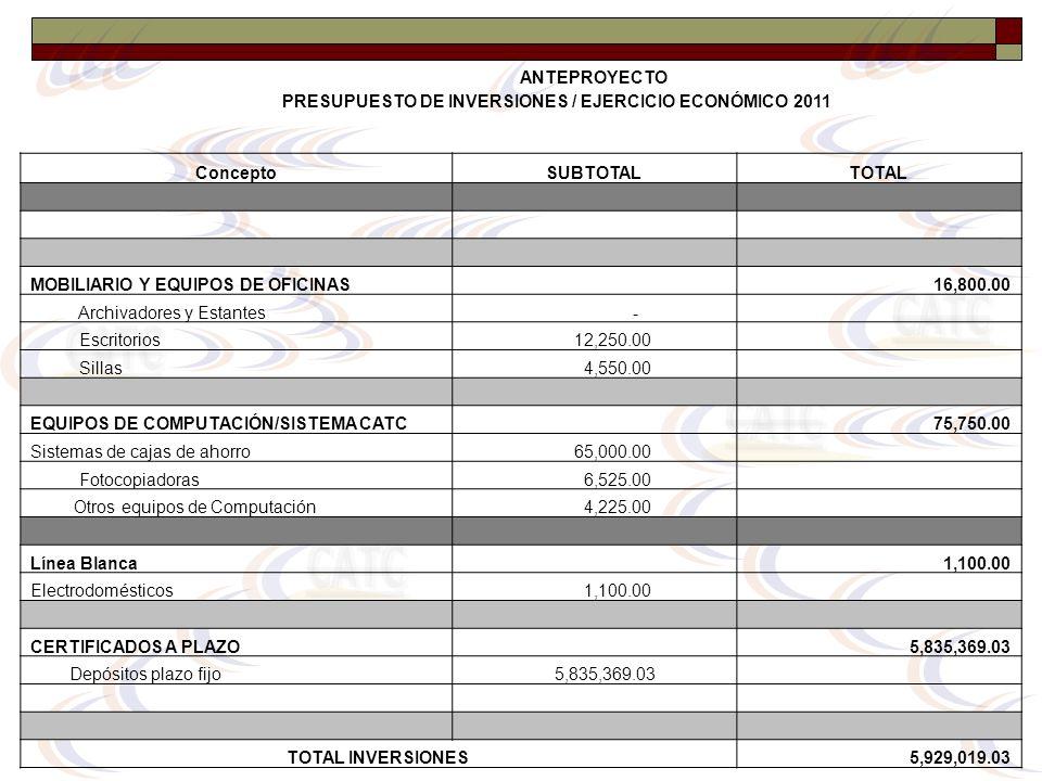 PRESUPUESTO DE INVERSIONES / EJERCICIO ECONÓMICO 2011