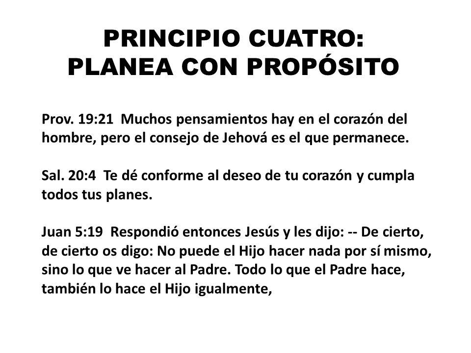 PRINCIPIO CUATRO: PLANEA CON PROPÓSITO