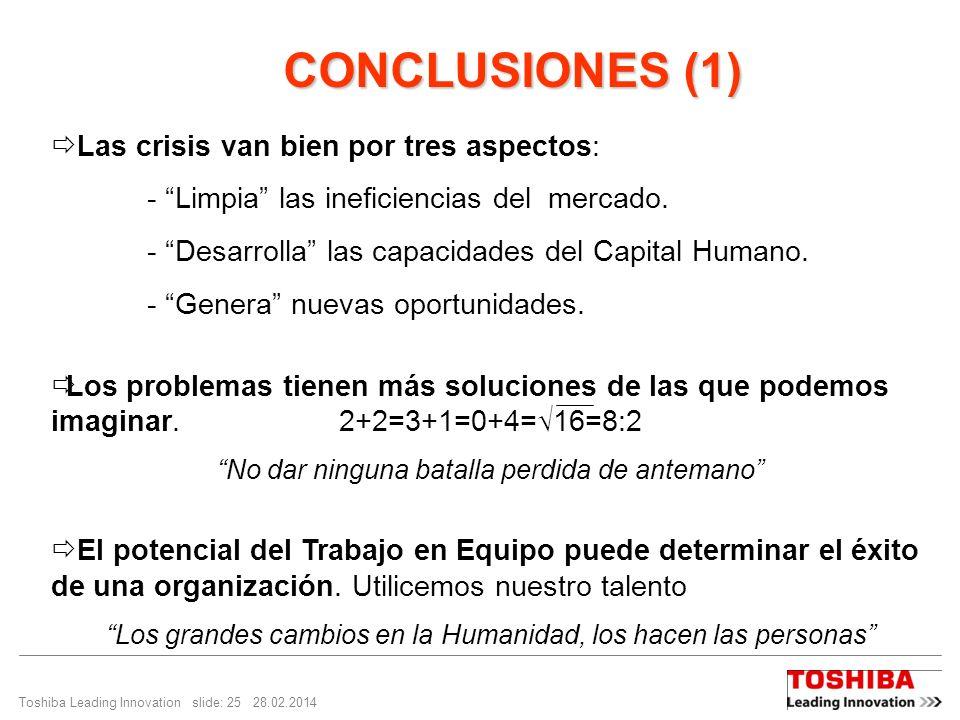 CONCLUSIONES (1) Las crisis van bien por tres aspectos: