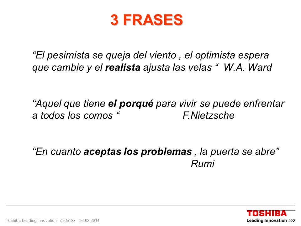 3 FRASES El pesimista se queja del viento , el optimista espera