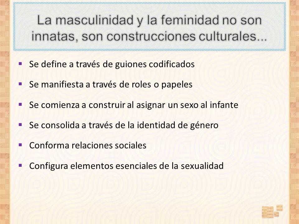 La masculinidad y la feminidad no son innatas, son construcciones culturales...