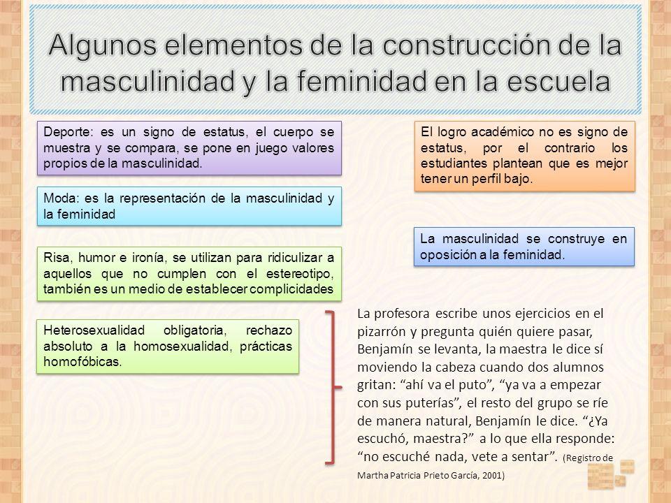 Algunos elementos de la construcción de la masculinidad y la feminidad en la escuela