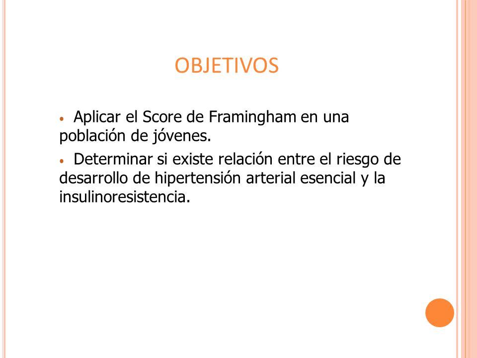 OBJETIVOS Aplicar el Score de Framingham en una población de jóvenes.