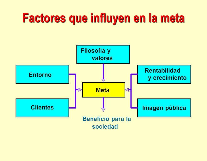 Factores que influyen en la meta