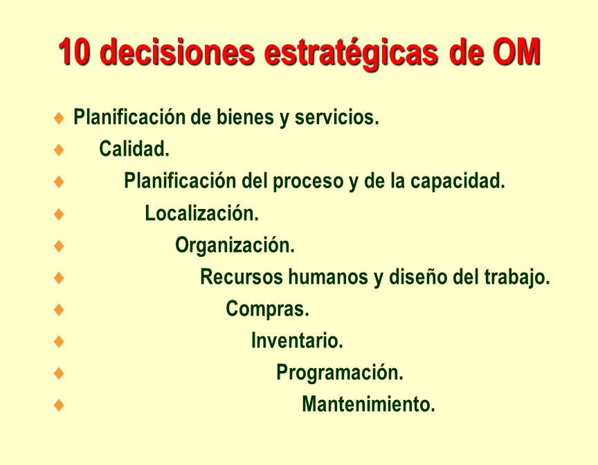 10 decisiones estratégicas de OM