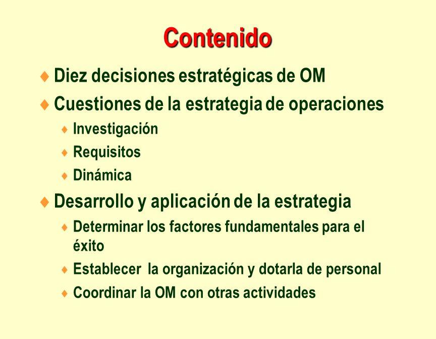 Contenido Diez decisiones estratégicas de OM