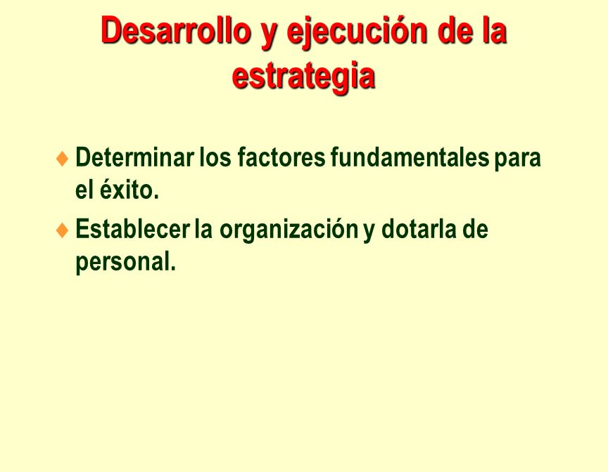 Desarrollo y ejecución de la estrategia